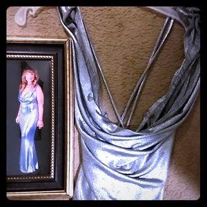 Dresses & Skirts - Women's long silver spaghetti strap formal dress